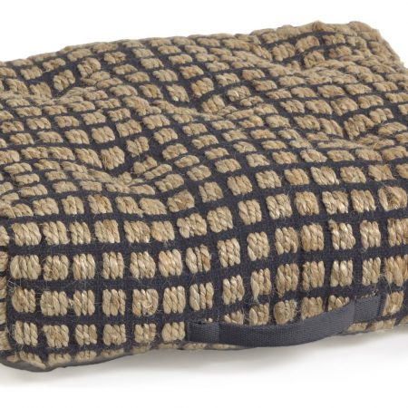 Kave Home Adelma Gulvpude - Jute/Sort Bomuld, 63x63