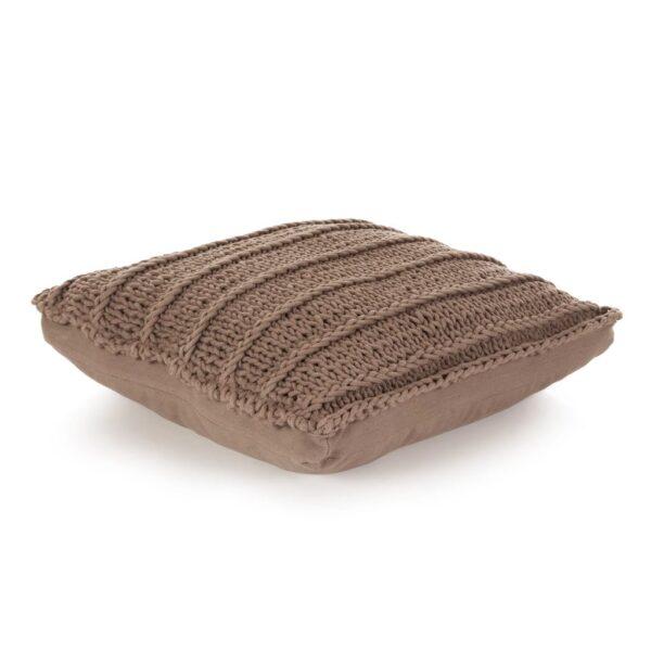 vidaXL gulvpude firkantet strikket bomuld 60 x 60 cm brun