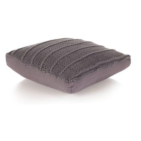 vidaXL gulvpude firkantet strikket bomuld 60 x 60 cm grå