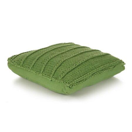 vidaXL gulvpude firkantet strikket bomuld 60 x 60 cm grøn